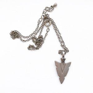 Vintage boho pewter arrowhead pendant necklace